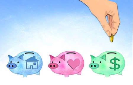 save money to piggy, paper craft   photo