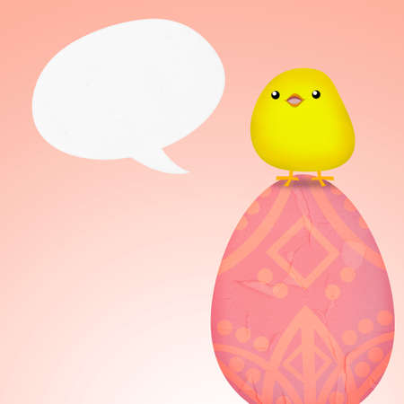 Easter egg with cute chicken and speech bubble photo