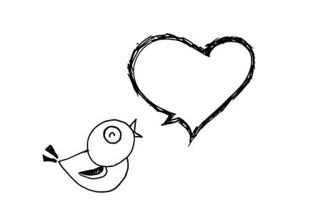 doodle art clipart: bird singing and heart bubble text, drawing by fountain pen