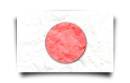 Japan flag paper craft isolated white   photo