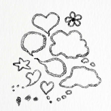 heart , bubble speech, real freehand drawing by fountain pen on white paper   photo
