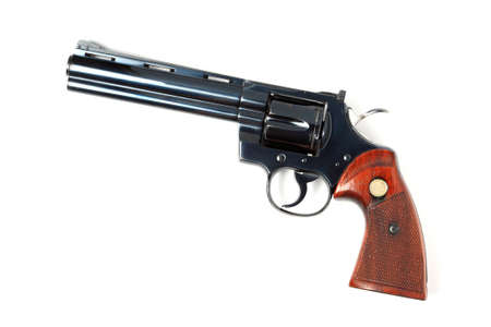 magnum: revolver with ammo, isolated   Stock Photo