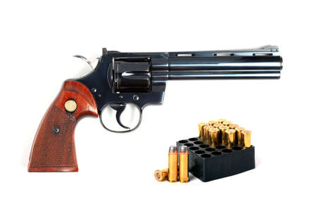 full metal jacket: revolver with ammo, isolated   Stock Photo