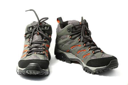trekking shoe- boots isolated white   photo