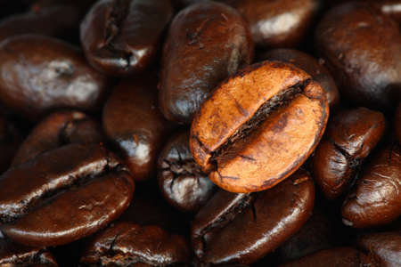 ingradient: roasted coffee beans background close-up   Stock Photo