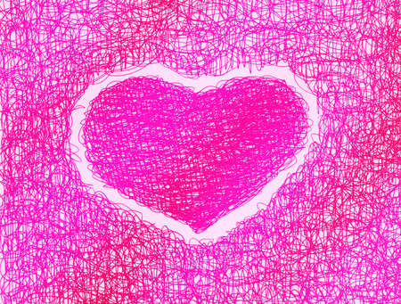 pink heart abstract drawing free hand Stock Photo - 12748113