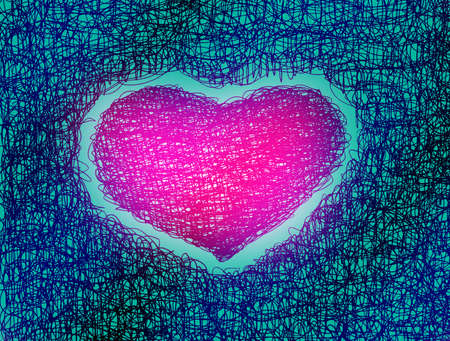 pink heart abstract drawing free hand   photo