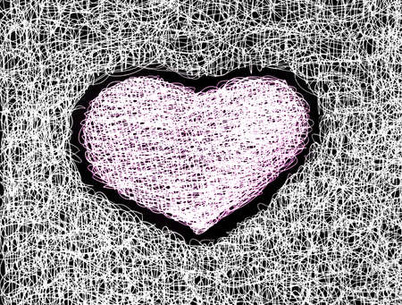 pink heart abstract drawing free hand   Stock Photo - 12748115