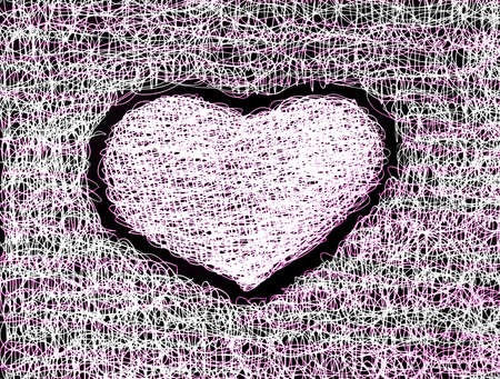 pink heart abstract drawing free hand   Stock Photo - 12748134