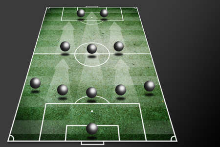 soccer coach: 5-3-2 soccer tactic -fornation board  Stock Photo