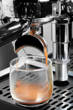 espresso machine: espresso, extracting from coffee machine  Stock Photo