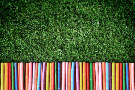 grass frame with colorful wooden tile   photo
