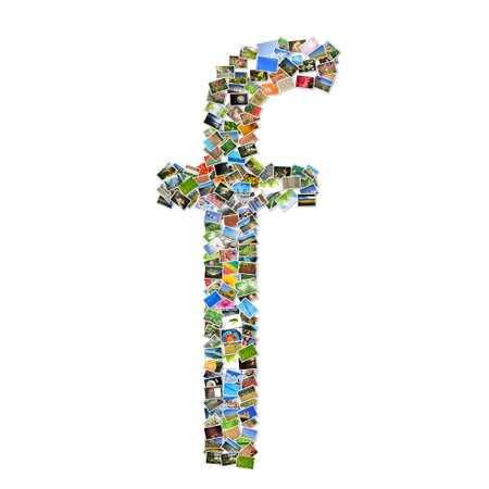 collage alphabet: letter F with social media concept  Stock Photo