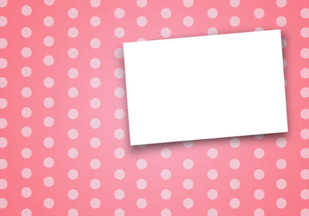 card on pink polka dot background. photo