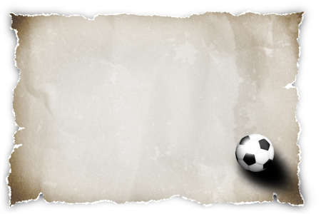 soccer ball on brown recycled paper. photo