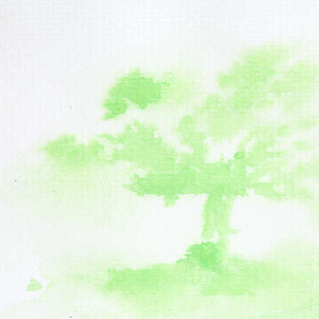 tree watercolor painted on paper  photo