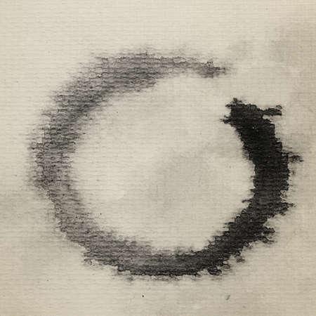 Zen symbol watercolor painted on paper.