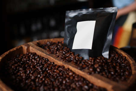 coffee beans with bag photo