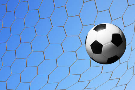 football in goal net  Stock Photo - 14344850