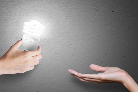 intelligent partnership: Idea bulb, transfer idea from hand to hand