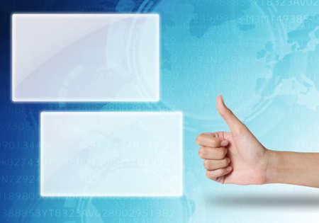 hane like icon on blue technology background  photo