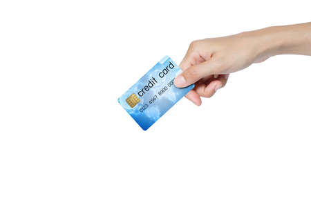 credit card holded by hand over blue background Stock Photo - 14459743