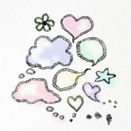 heart bubble speech freehand drawn  photo