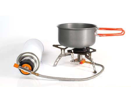 butane: camping pot on stove Stock Photo