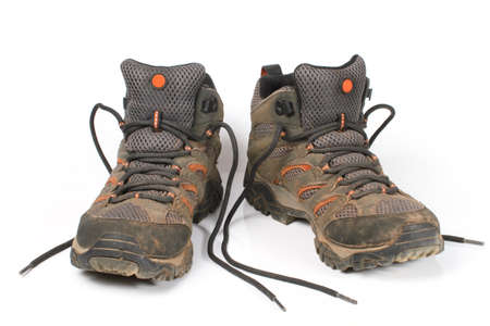 muddy clothes: shoes, trekking boot  Stock Photo