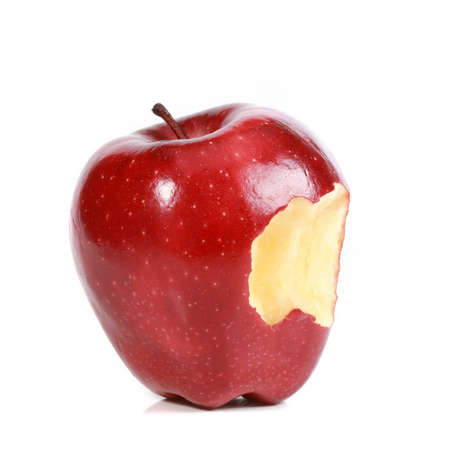 Red bitten apple on white background  photo