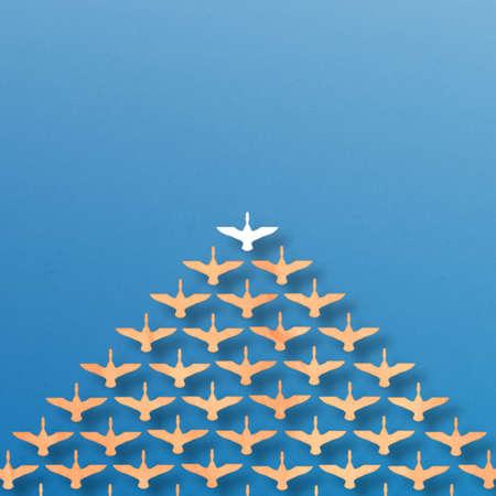team leadership:  leadership duck pattern over blue sea