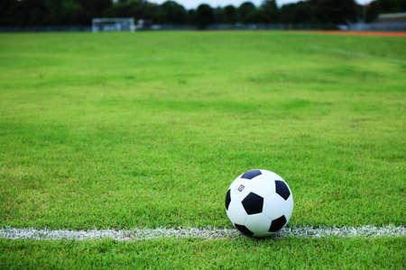 football match lawns: soccer ball on white line