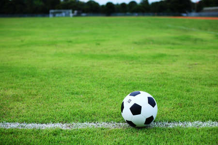 soccerfield: voetbal bal op witte lijn