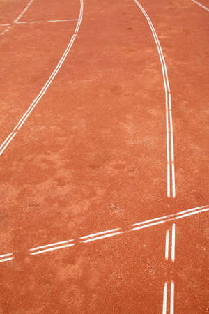 ourdoor: running track with white line Stock Photo