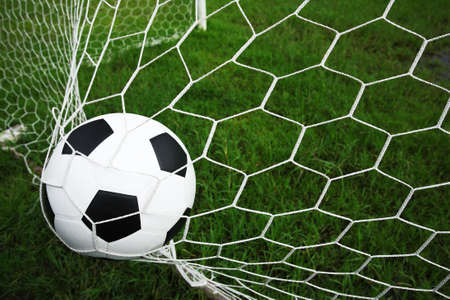 soccer net: soccer ball in goal Stock Photo
