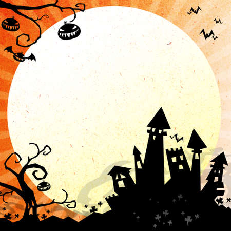 halloween night with castleand moon background Stock Photo - 15129625