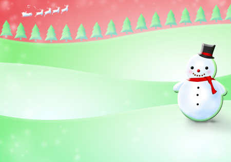Christmas background with snowman on snowy hills  Stock Photo
