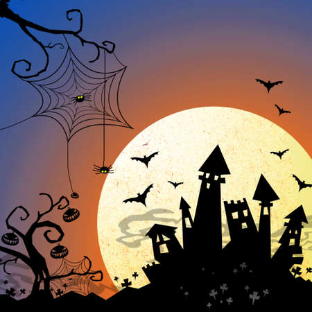 halloween night with castle and moon background Stock Photo - 15129623
