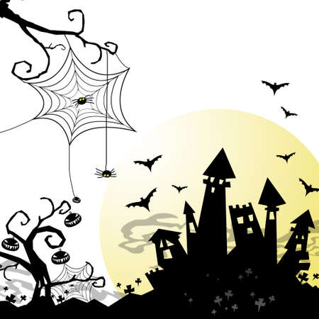 pumkin: halloween night with castle and moon over white background