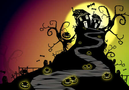 pumkin: Halloween background with huanted house on hill