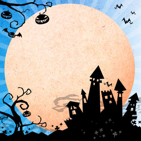 halloween night with castleand moon background photo