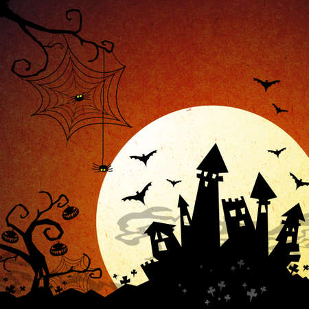 moon gate: halloween night with castleand moon background