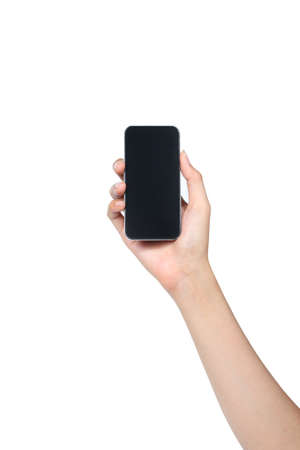 smartphone holded by female hand isolated white