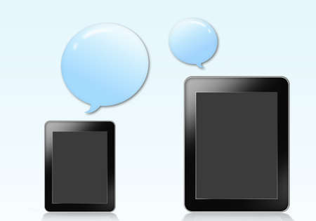 Tablet with blue bubble over gray background photo
