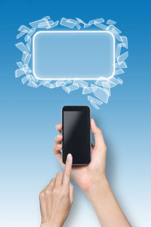 female hand touch screen smartphone with icons over blue background  photo