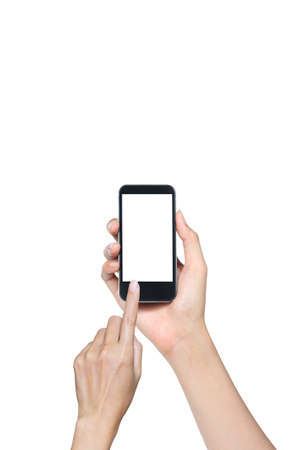 female hand touch screen on smartphone isolated white