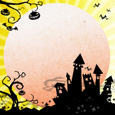 halloween night with castle and moon background Stock Photo - 15794799
