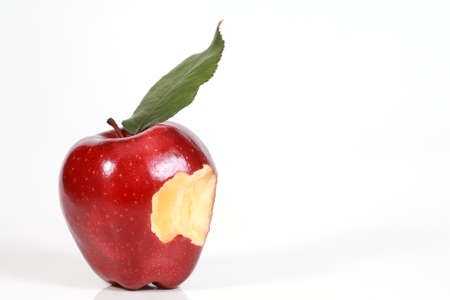 bitten apple on white background  photo