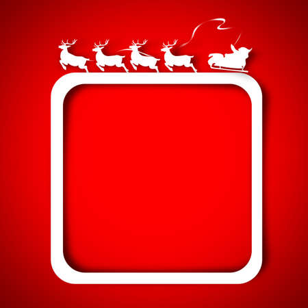 Silhouette Santa and Reindeer over red background  photo