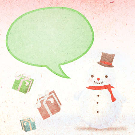 green tophat: snowman and gifts with balloon background
